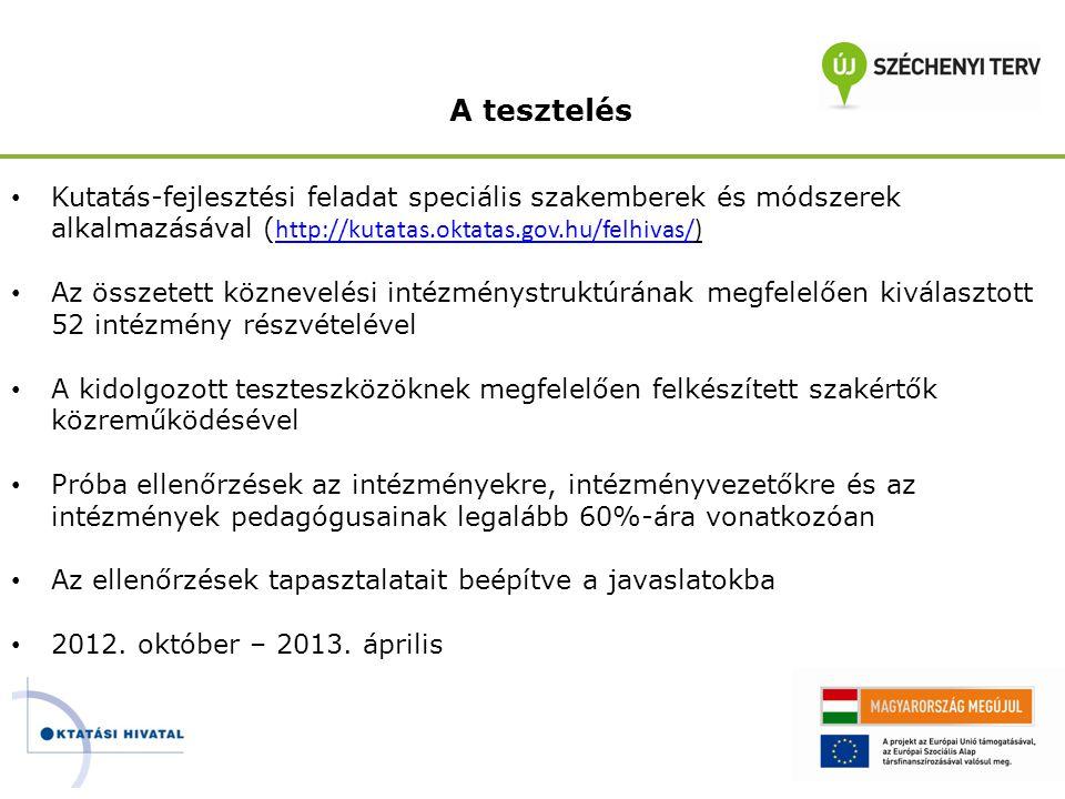 A tesztelés Kutatás-fejlesztési feladat speciális szakemberek és módszerek alkalmazásával (http://kutatas.oktatas.gov.hu/felhivas/)