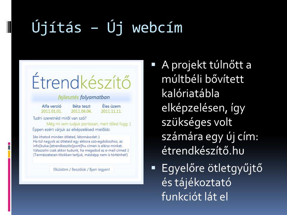 Újítás – Új webcím A projekt túlnőtt a múltbéli bővített kalóriatábla elképzelésen, így szükséges volt számára egy új cím: étrendkészítő.hu.
