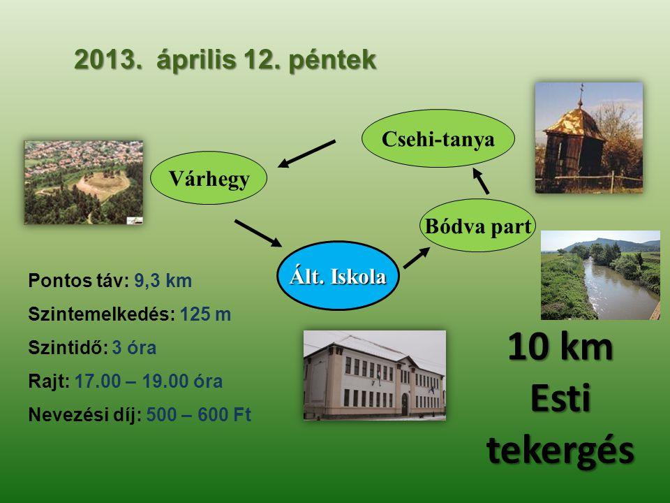 10 km Esti tekergés 2013. április 12. péntek Csehi-tanya Várhegy