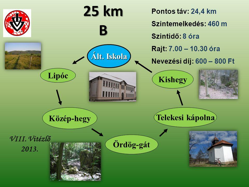 25 km B Ált. Iskola Lipóc Kishegy Közép-hegy Telekesi kápolna