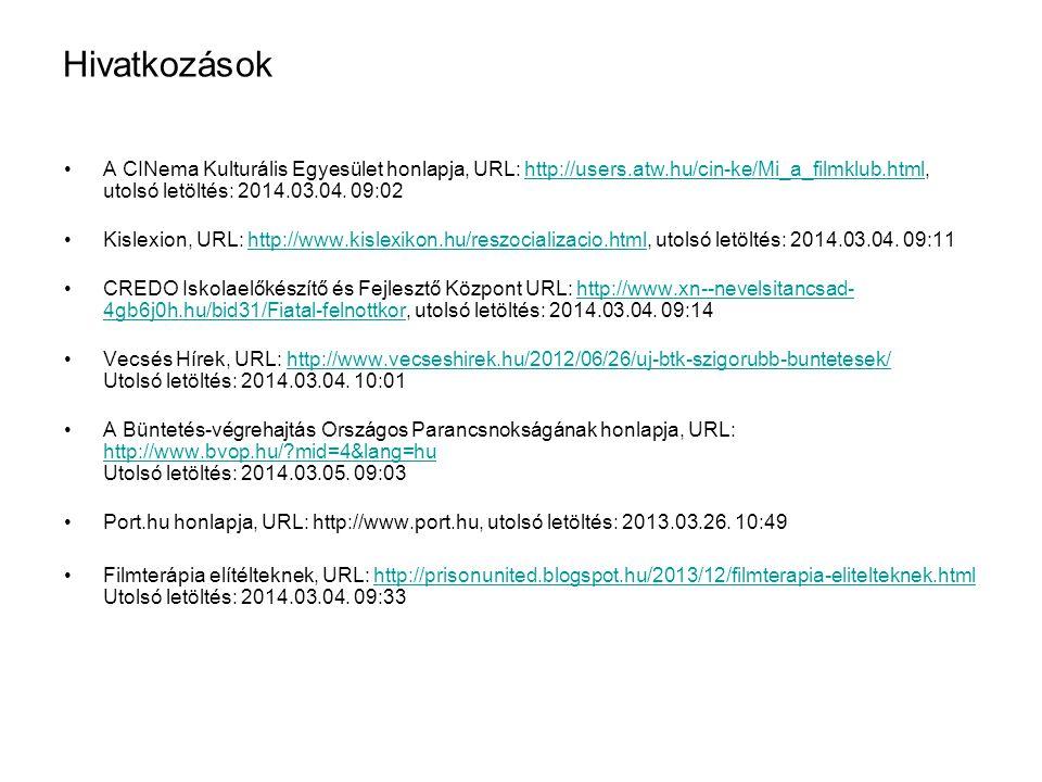 Hivatkozások A CINema Kulturális Egyesület honlapja, URL: http://users.atw.hu/cin-ke/Mi_a_filmklub.html, utolsó letöltés: 2014.03.04. 09:02.