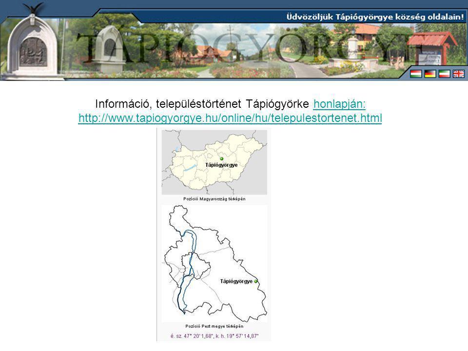 Információ, településtörténet Tápiógyörke honlapján: http://www