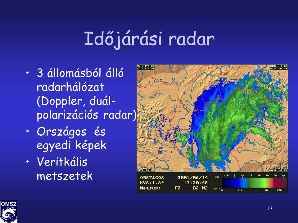 Időjárási radar 3 állomásból álló radarhálózat (Doppler, duál-polarizációs radar) Országos és egyedi képek.