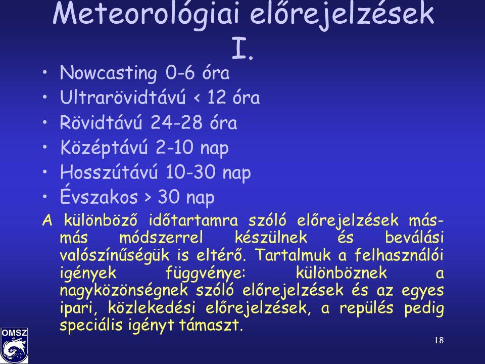 Meteorológiai előrejelzések I.