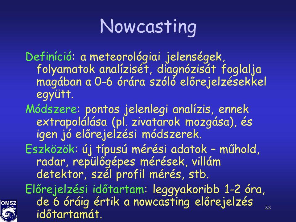 Nowcasting Definíció: a meteorológiai jelenségek, folyamatok analízisét, diagnózisát foglalja magában a 0-6 órára szóló előrejelzésekkel együtt.