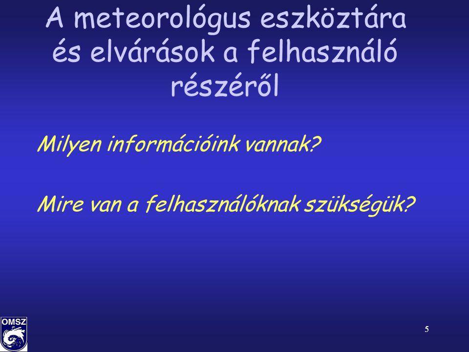 A meteorológus eszköztára és elvárások a felhasználó részéről