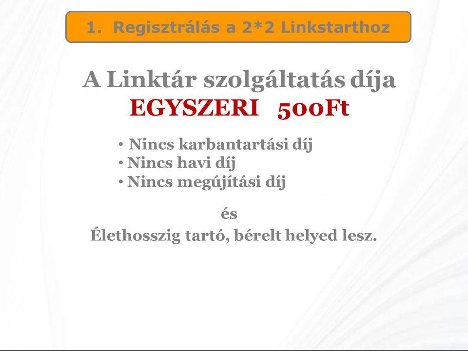 A Linktár szolgáltatás díja EGYSZERI 500Ft
