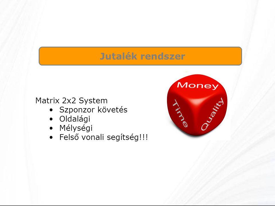 Jutalék rendszer Matrix 2x2 System Szponzor követés Oldalági Mélységi