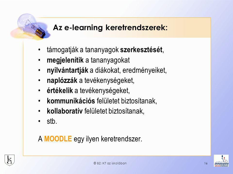 Az e-learning keretrendszerek: