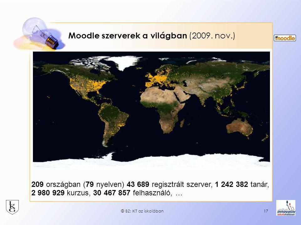 Moodle szerverek a világban (2009. nov.)