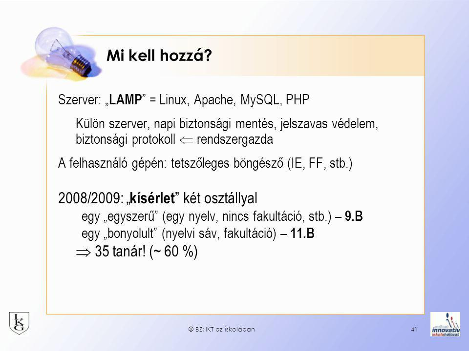 """2008/2009: """"kísérlet két osztállyal"""
