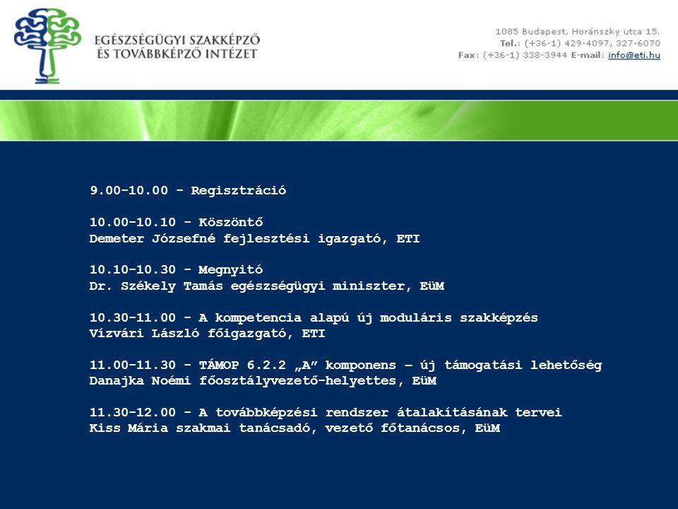 9.00-10.00 - Regisztráció 10.00-10.10 - Köszöntő. Demeter Józsefné fejlesztési igazgató, ETI. 10.10-10.30 - Megnyitó.