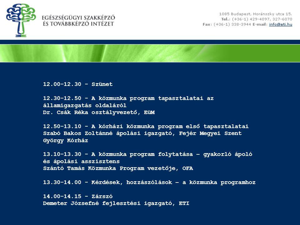 12.00-12.30 - Szünet 12.30-12.50 - A közmunka program tapasztalatai az államigazgatás oldaláról. Dr. Csák Réka osztályvezető, EüM.