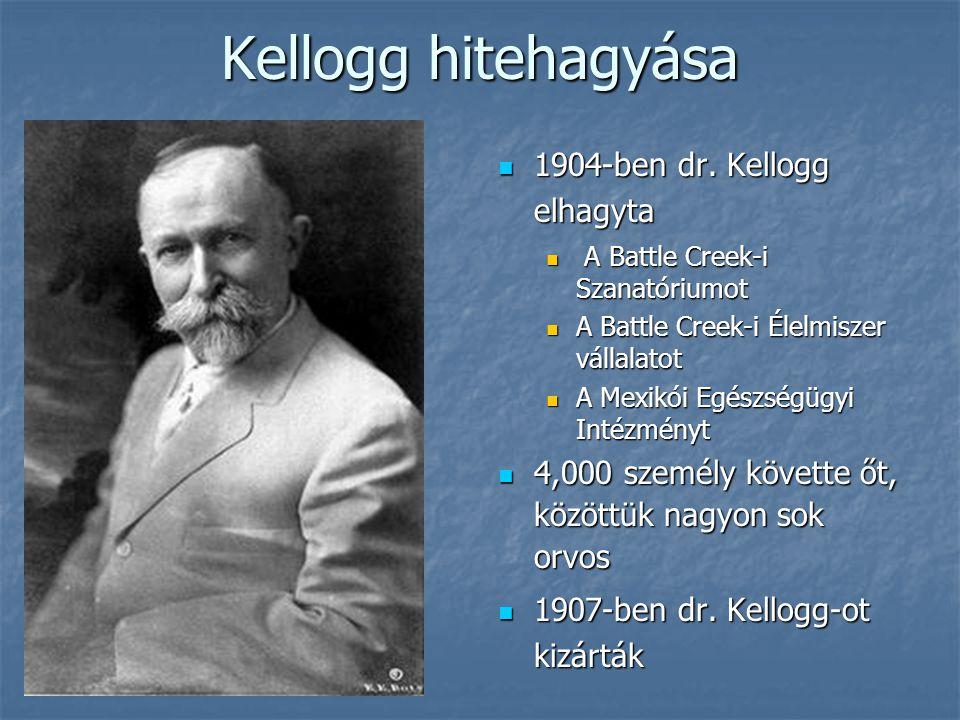 Kellogg hitehagyása 1904-ben dr. Kellogg elhagyta