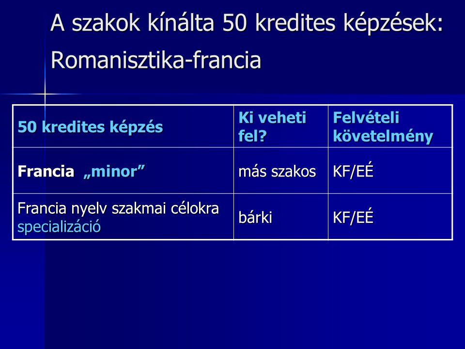 A szakok kínálta 50 kredites képzések: Romanisztika-francia