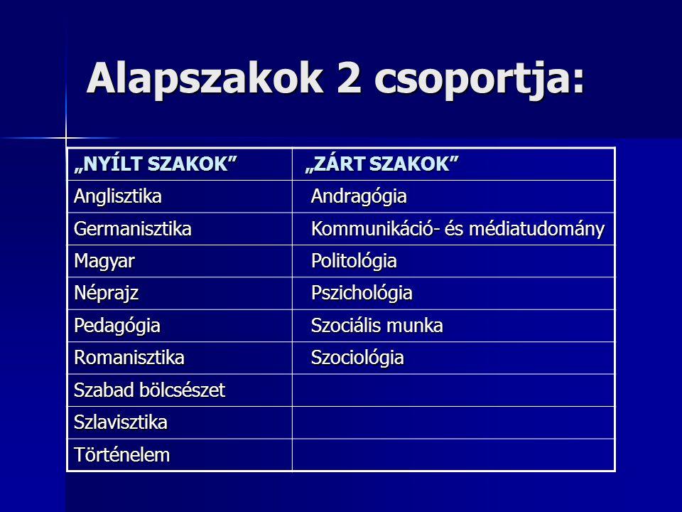 Alapszakok 2 csoportja: