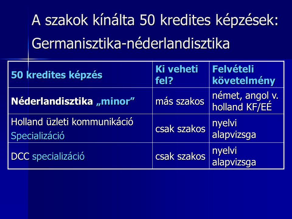 A szakok kínálta 50 kredites képzések: Germanisztika-néderlandisztika