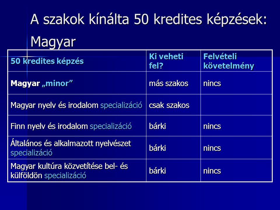 A szakok kínálta 50 kredites képzések: Magyar