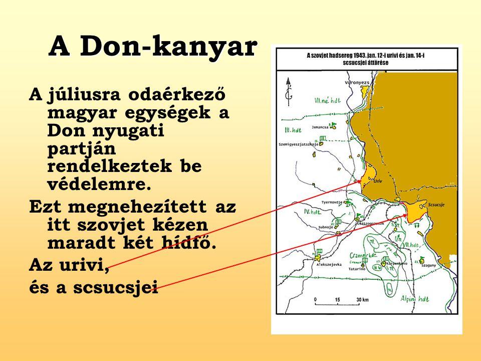 A Don-kanyar A júliusra odaérkező magyar egységek a Don nyugati partján rendelkeztek be védelemre.