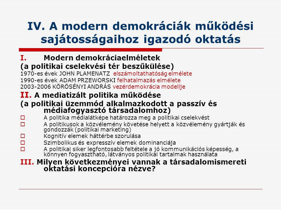 IV. A modern demokráciák működési sajátosságaihoz igazodó oktatás