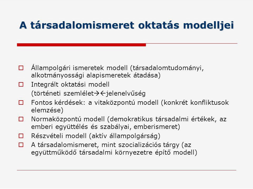 A társadalomismeret oktatás modelljei