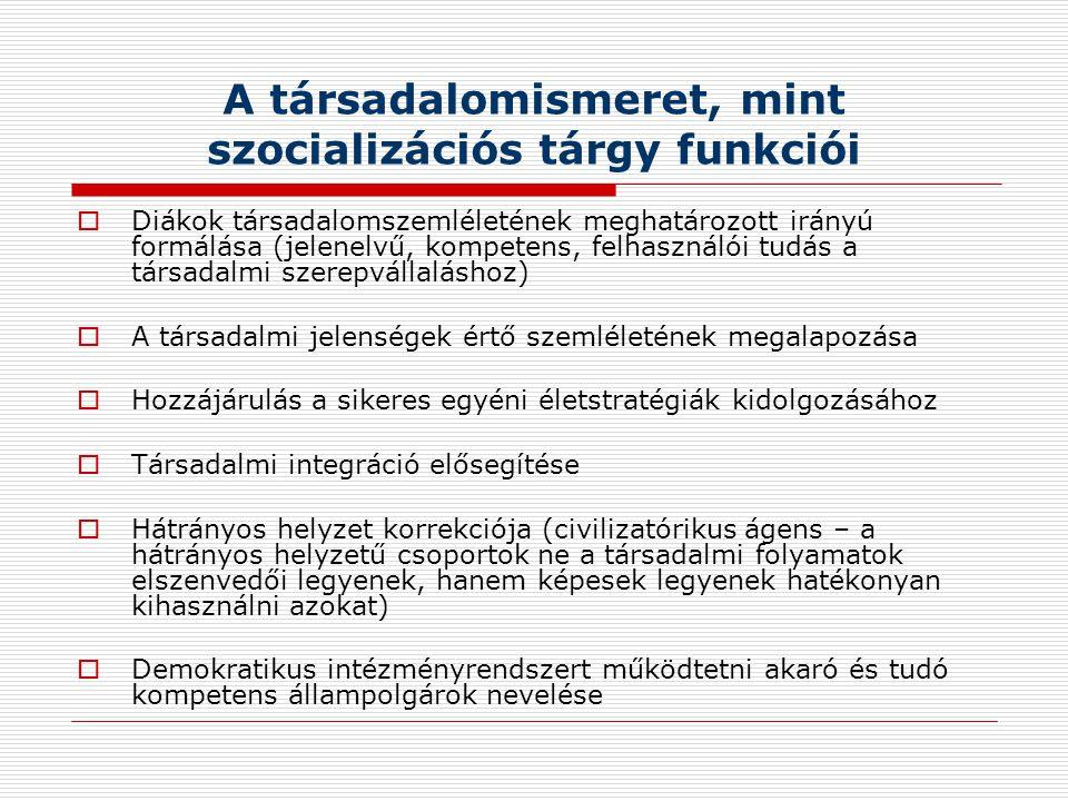 A társadalomismeret, mint szocializációs tárgy funkciói
