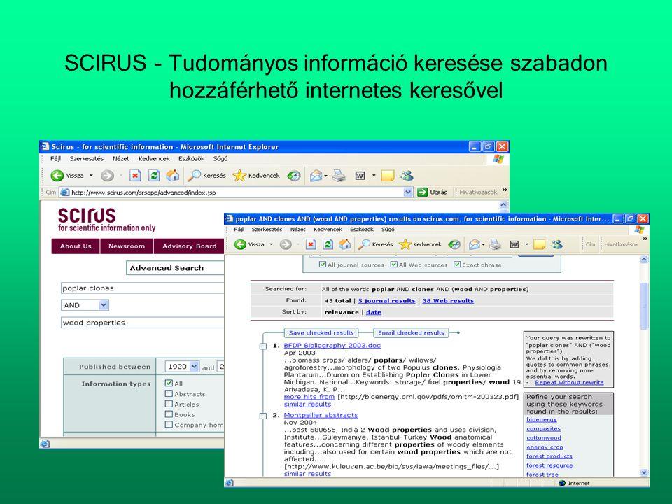 SCIRUS - Tudományos információ keresése szabadon hozzáférhető internetes keresővel