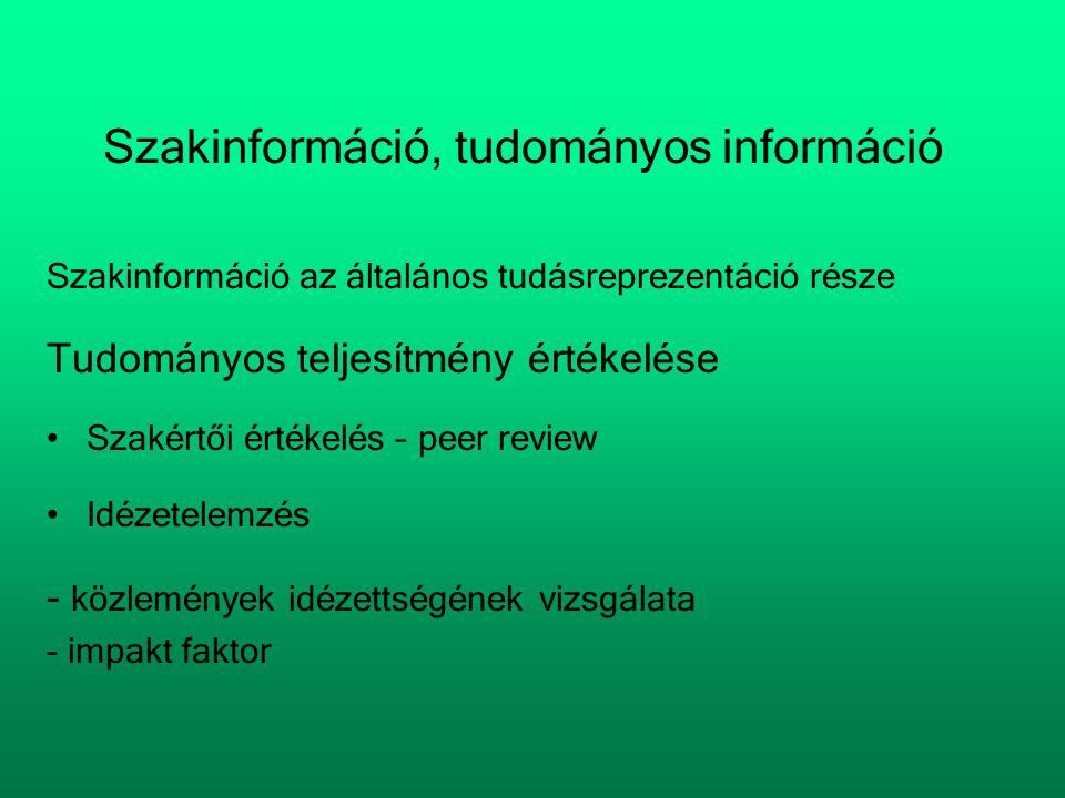 Szakinformáció, tudományos információ