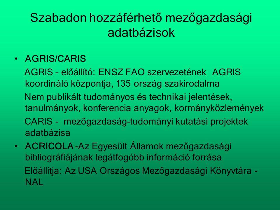 Szabadon hozzáférhető mezőgazdasági adatbázisok
