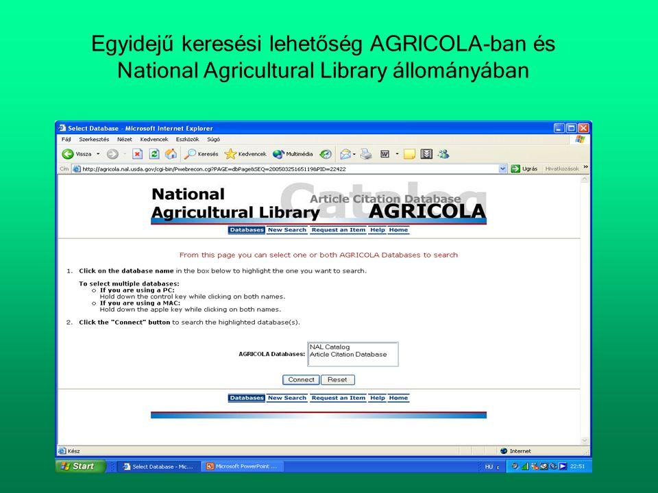 Egyidejű keresési lehetőség AGRICOLA-ban és National Agricultural Library állományában