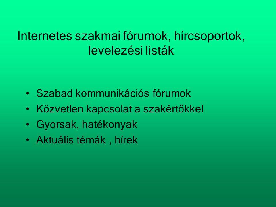 Internetes szakmai fórumok, hírcsoportok, levelezési listák