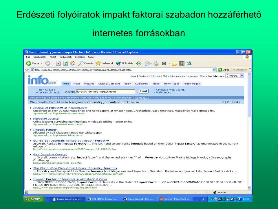 Erdészeti folyóiratok impakt faktorai szabadon hozzáférhető internetes forrásokban