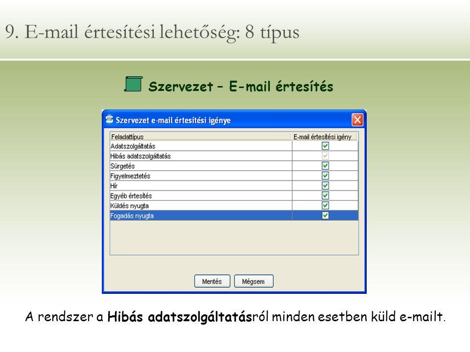 9. E-mail értesítési lehetőség: 8 típus