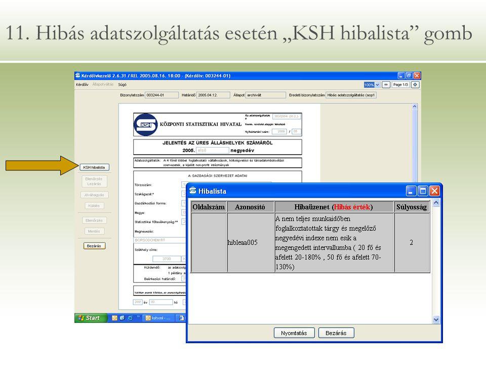 """11. Hibás adatszolgáltatás esetén """"KSH hibalista gomb"""
