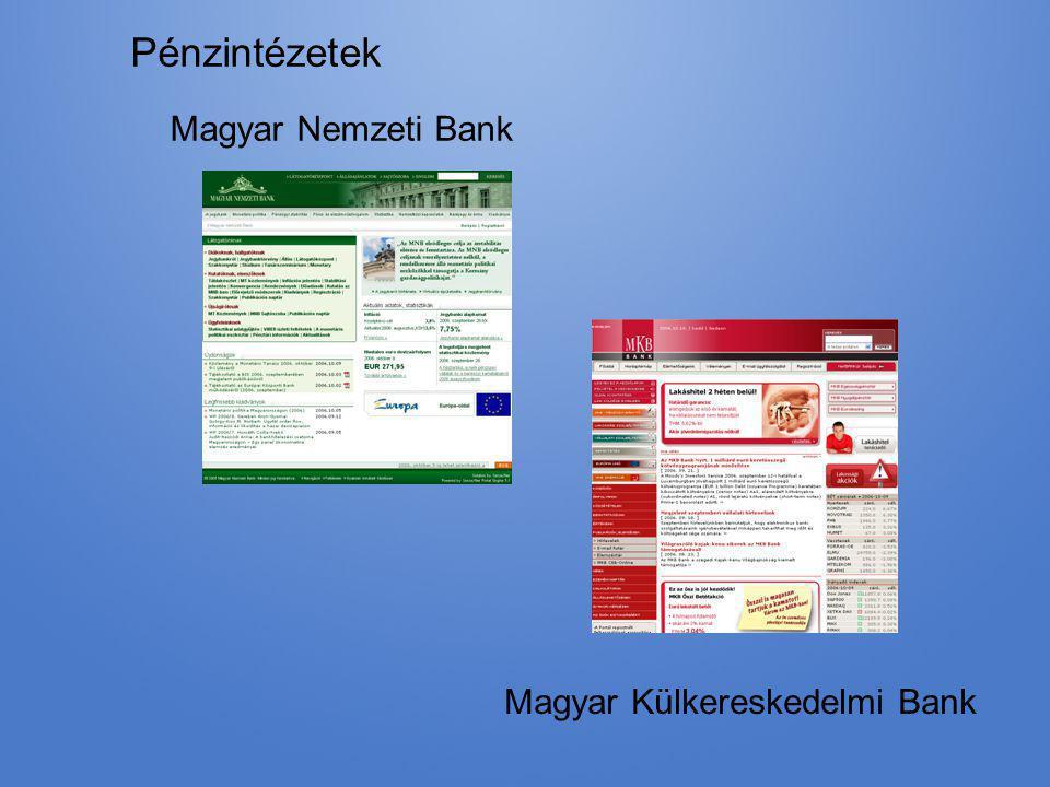 Pénzintézetek Magyar Nemzeti Bank Magyar Külkereskedelmi Bank