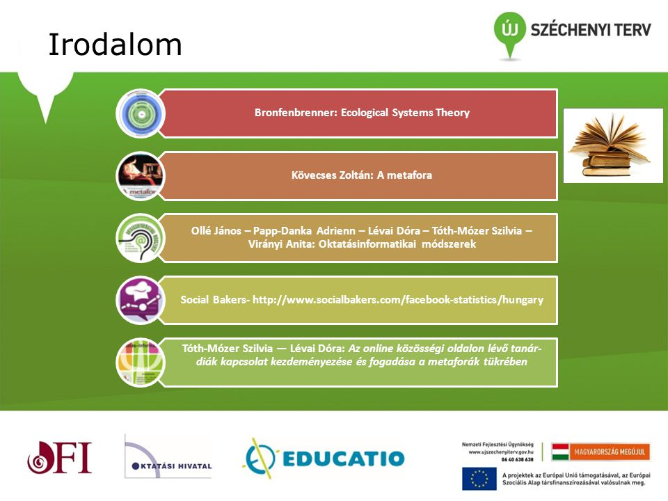 Irodalom Bronfenbrenner: Ecological Systems Theory