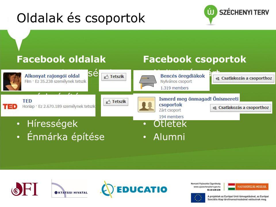 Oldalak és csoportok Facebook oldalak Facebook csoportok