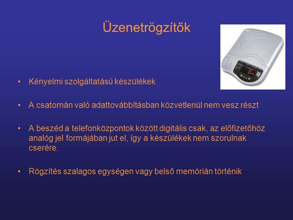 Üzenetrögzítők Kényelmi szolgáltatású készülékek