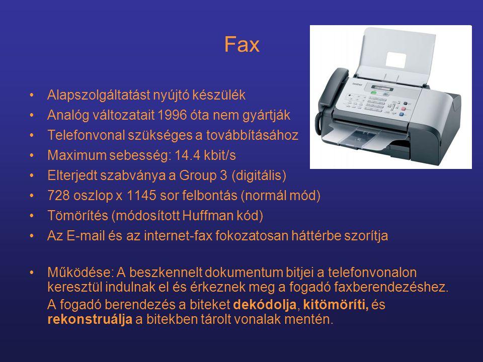 Fax Alapszolgáltatást nyújtó készülék
