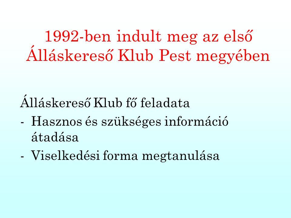 1992-ben indult meg az első Álláskereső Klub Pest megyében