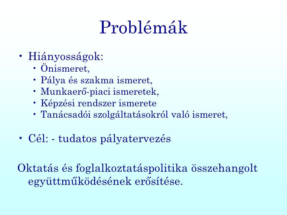 Problémák Hiányosságok: Cél: - tudatos pályatervezés