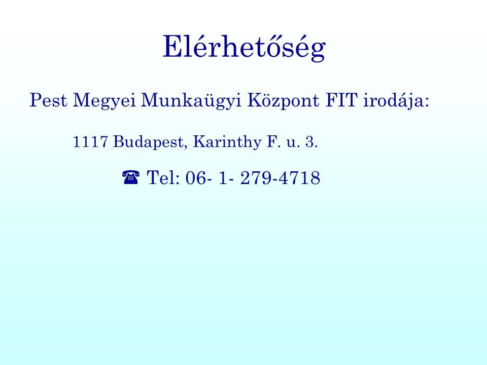 Elérhetőség Pest Megyei Munkaügyi Központ FIT irodája: