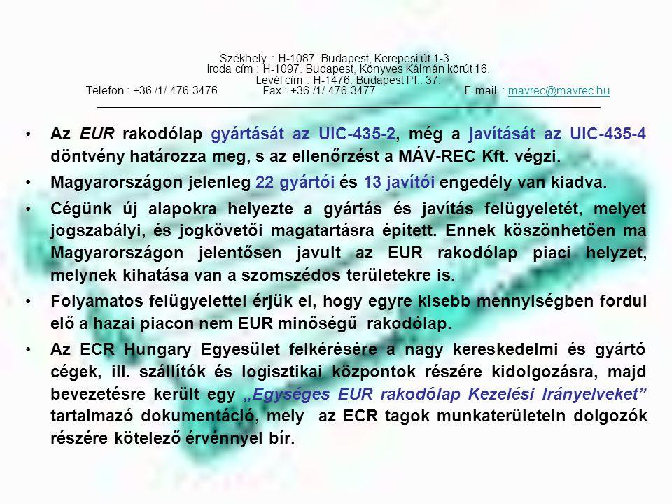 Magyarországon jelenleg 22 gyártói és 13 javítói engedély van kiadva.