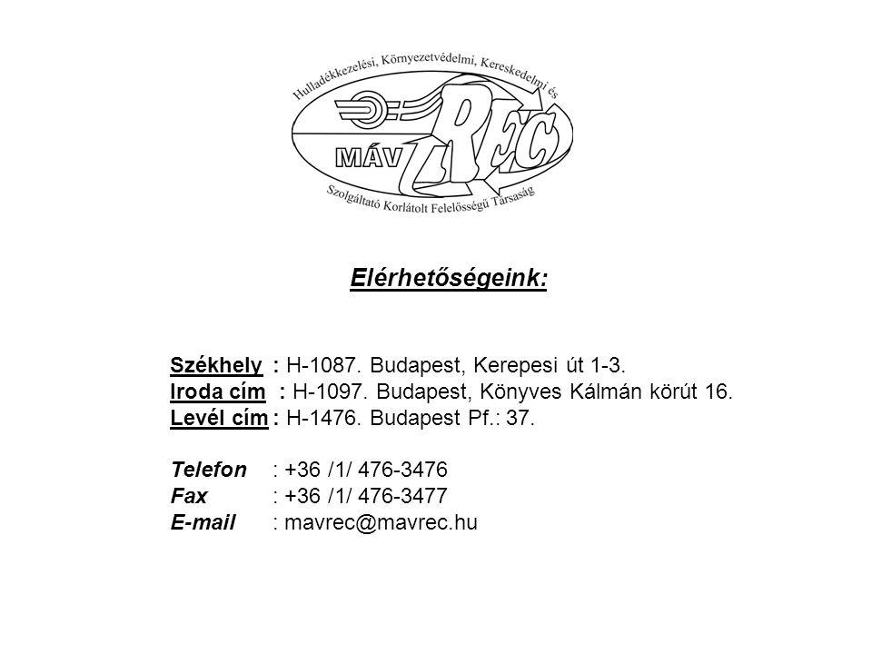 Elérhetőségeink: Székhely : H-1087. Budapest, Kerepesi út 1-3. Iroda cím : H-1097. Budapest, Könyves Kálmán körút 16.
