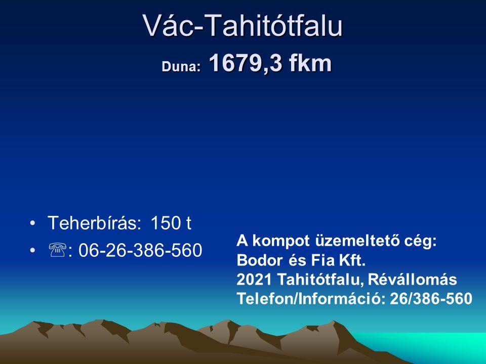 Vác-Tahitótfalu Duna: 1679,3 fkm