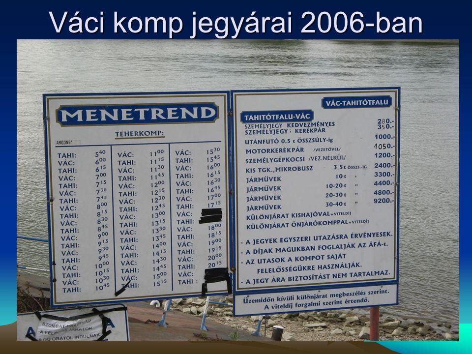 Váci komp jegyárai 2006-ban
