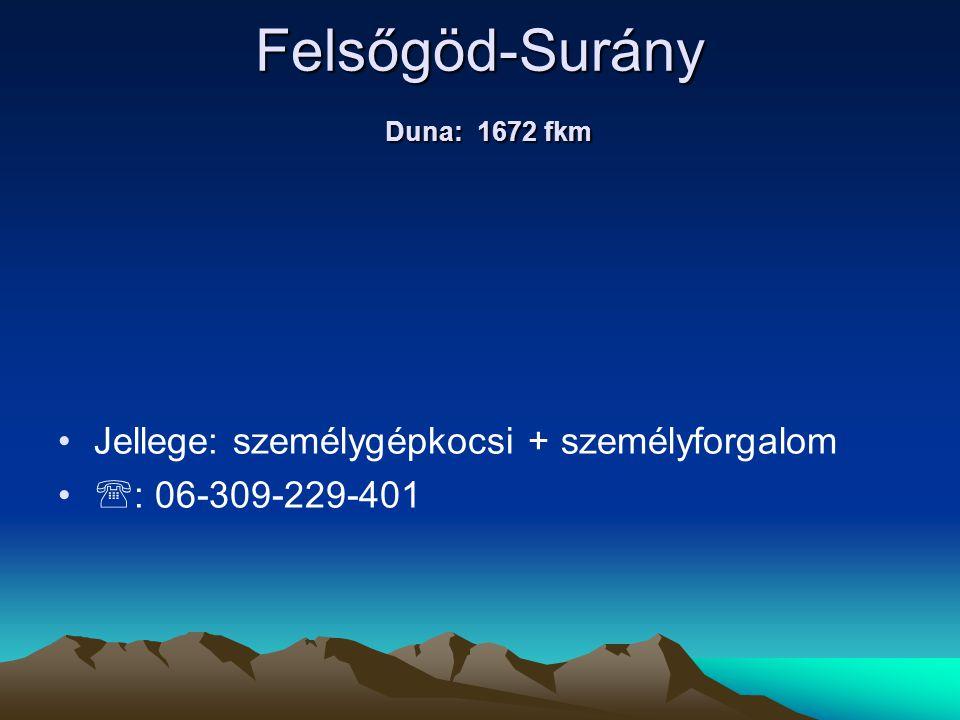Felsőgöd-Surány Duna: 1672 fkm