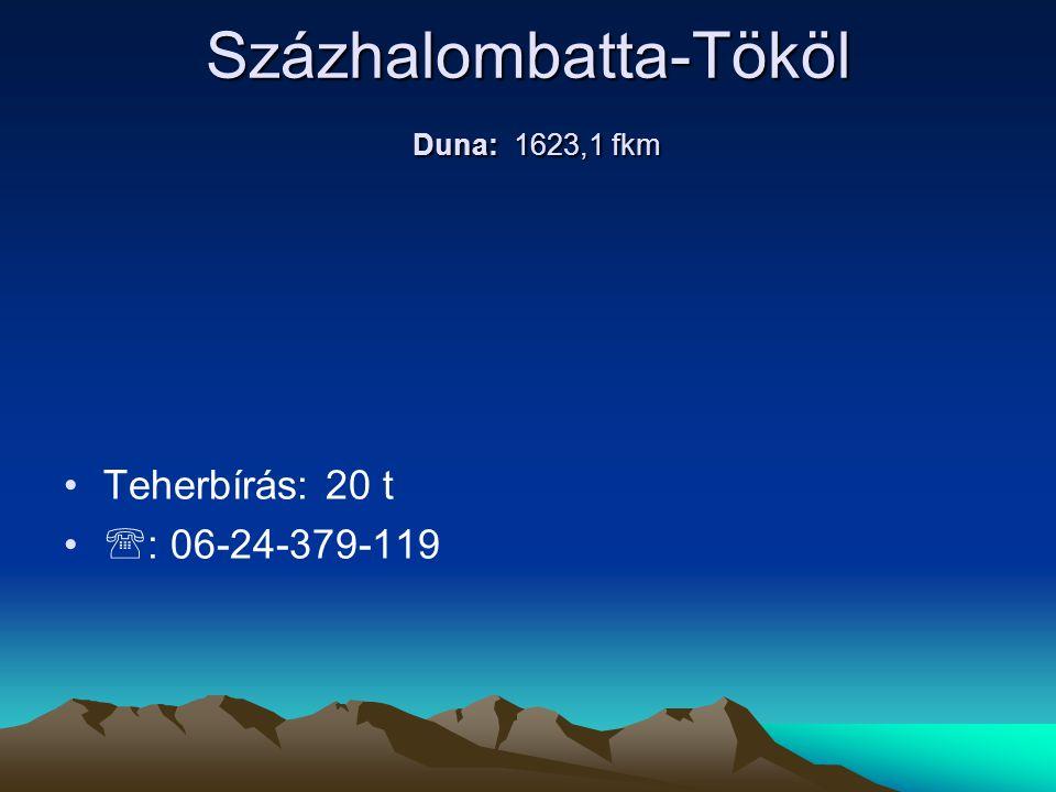 Százhalombatta-Tököl Duna: 1623,1 fkm