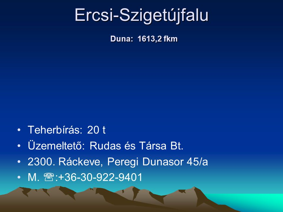 Ercsi-Szigetújfalu Duna: 1613,2 fkm