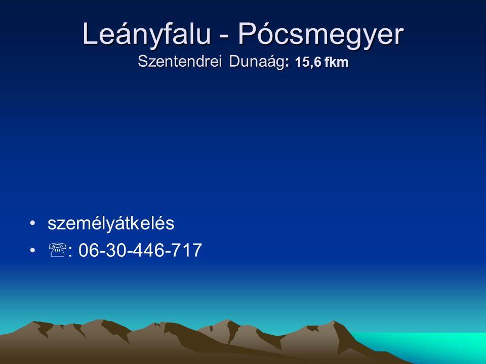 Leányfalu - Pócsmegyer Szentendrei Dunaág: 15,6 fkm